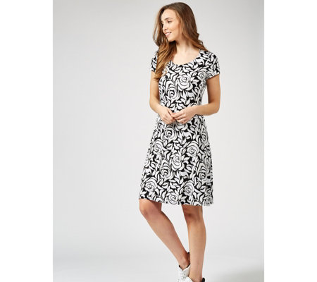 Coco Bianco Printed Short Sleeve Trapeze Dress