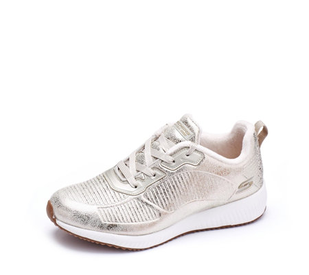 Skechers Bobs Squad Metallic Embossed Lace Trainers