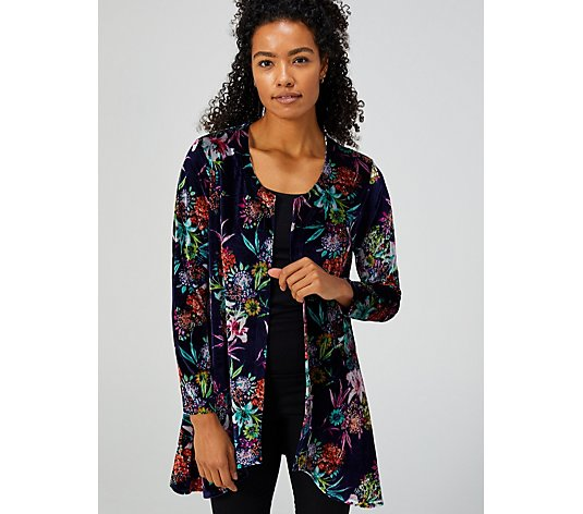 Printed Velvet Dip Hem Cardigan By Michele Hope