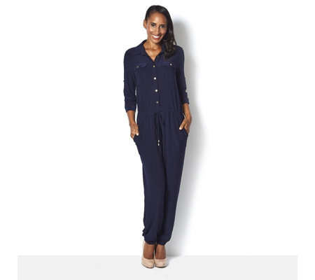 Button Front 3/4 Sleeve Jumpsuit by Nina Leonard