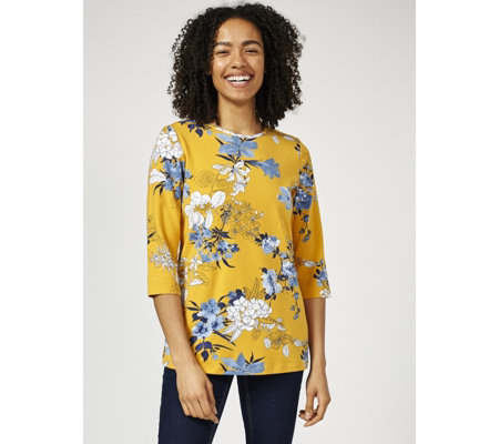 Denim & Co. Printed Round Neck 3/4 Sleeve Top