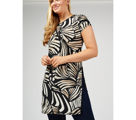 Attitudes by Renee Printed Como Jersey Duster Tunic with Side Slits