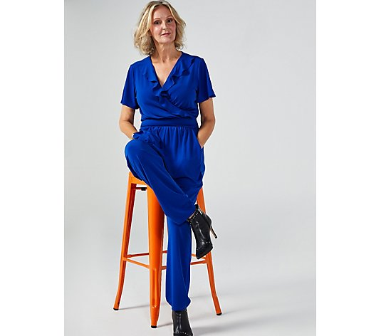 Kim & Co Brazil Jersey Flutter Sleeve Frilled Jumpsuit Regular