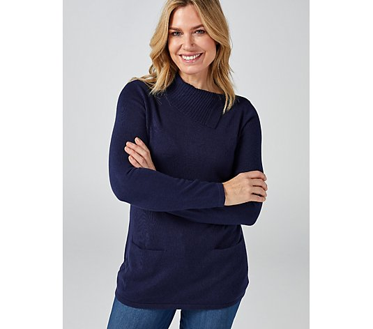 Isaac Mizrahi Live Split Neck Collar Pullover with Pockets