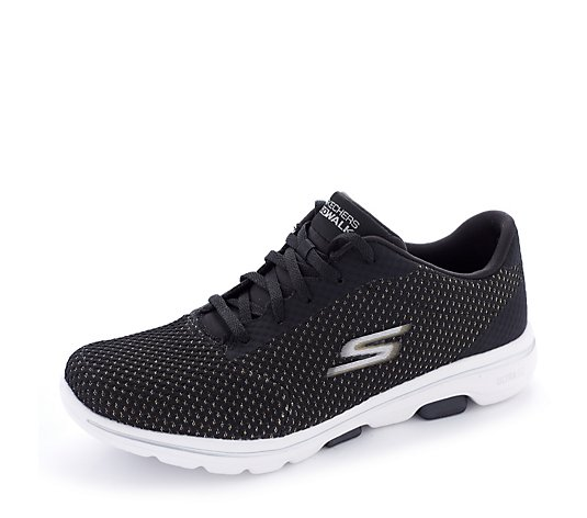 Skechers Go walk 5 Debut Metallic Knit Lace Trainer