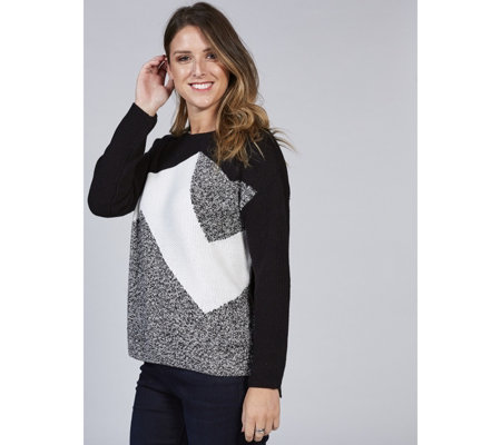 Marble Colour Block Boat Neck Hi-Lo Sweater