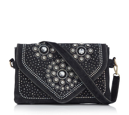 Butler & Wilson Circular Crystal Stud Design Denim Bag