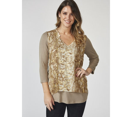Together Foil Printed Chiffon Front Jersey Top