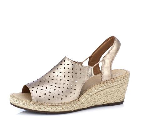 37f6c2a28c7 Clarks Artisan Petrina Gail Leather Espadrille Wedge Sandal Standard Fit -  QVC UK