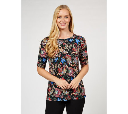 Kim & Co Boho Paisley Brazil Jersey Elbow Sleeve Top