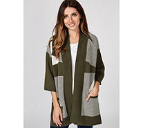 H by Halston Patch Jacquard Kimono Sleeve Cardigan with Pockets - 174218