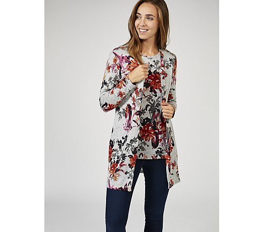 Mr Max Floral Print Topaz Knit Cardigan and Cami Set