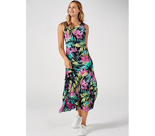 Attitudes by Renee Sleeveless Printed Jersey Godet Maxi Dress Regular