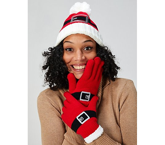 Muk Luks Novelty Christmas Hat and Gloves Set