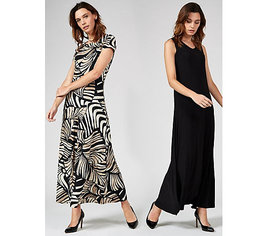Outlet Attitudes by Renee Print and Plain Maxi Dresses Regular