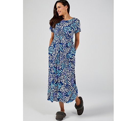 Carole Hochman Abstract Print Maxi Lounge Gown Petite