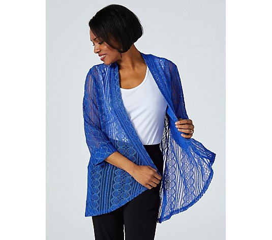 3/4 Sleeve Tapestry Lace Cardigan by Michele Hope