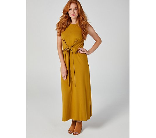 Denim & Co Jersey Round Neck Tie Front Sleeveless Maxi Dress