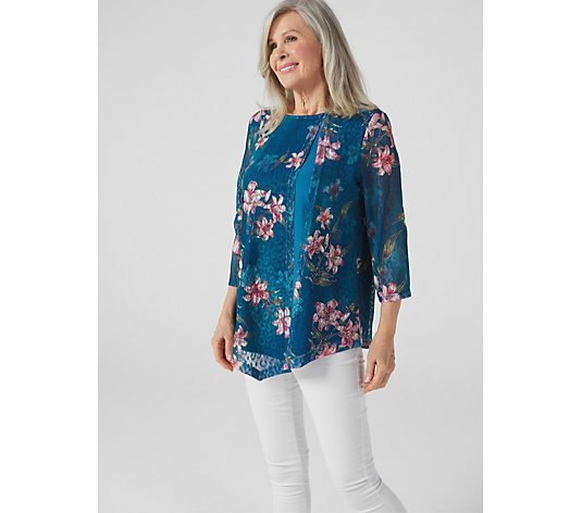 Butler & Wilson Blue Floral Top With Side Opening
