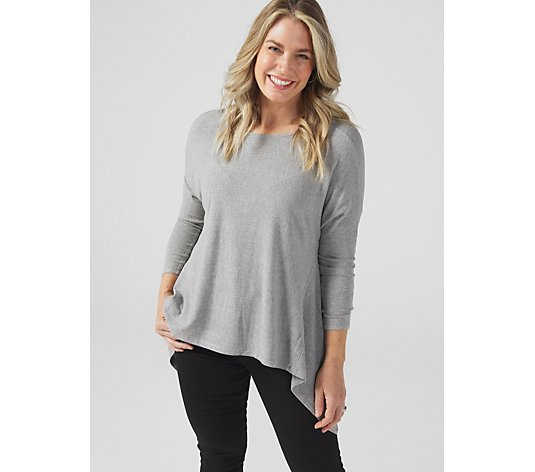 Coco Bianco Long Sleeve High Low Hem Ribbed Knit Tunic