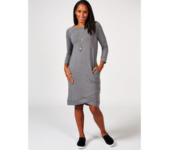 1406f7f89e7c0 Cuddl Duds Comfortwear 3 4 Sleeve Wrap Hem Detail Lounge Dress - 166919