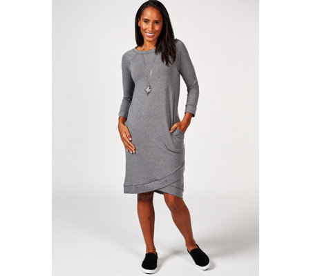 Cuddl Duds Comfortwear 3/4 Sleeve Wrap Hem Detail Lounge Dress