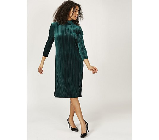 DS Dresses High Neck Pleated Velvet Dress