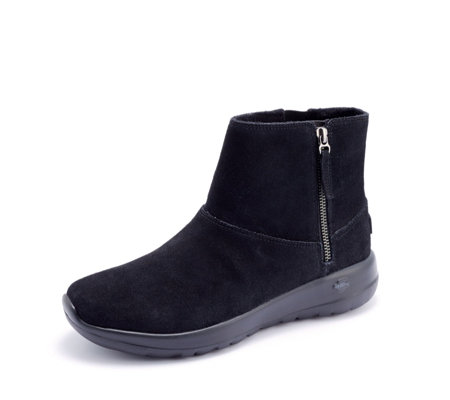 how to serch 100% original united states Skechers Suede Zip Ankle Boot with Faux Fur - QVC UK