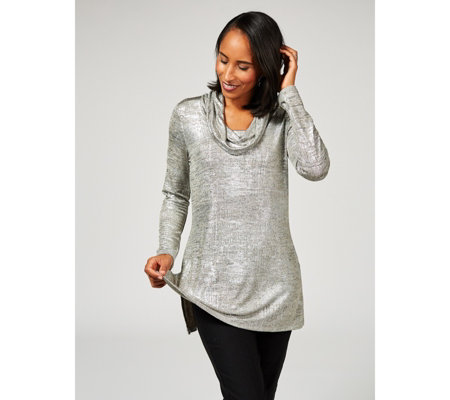 Mr Max Reflection Knit Cowl Neck Top