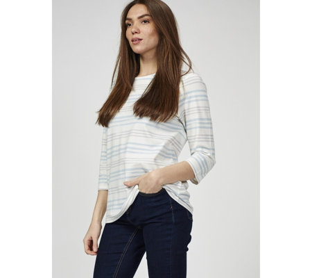 Denim & Co. Striped Jersey Round Neck 3/4 Sleeve Top