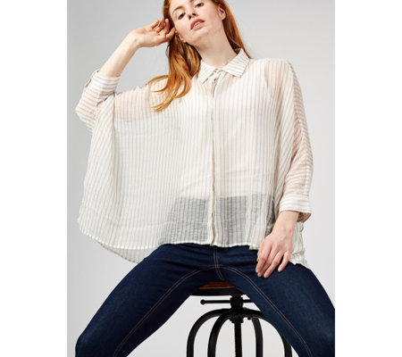 WynneLayers Crinkle Sheer Stripe Shirt