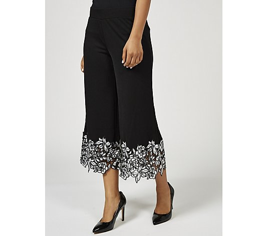 Isaac Mizrahi Live Pebble Knit Culotte with Lace Trim Petite