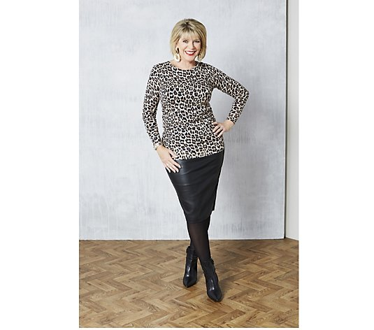 Ruth Langsford Animal Print Jumper Tunic with Zip Back Detail