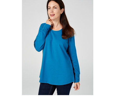 Denim & Co. French Terry Curved Hem Top