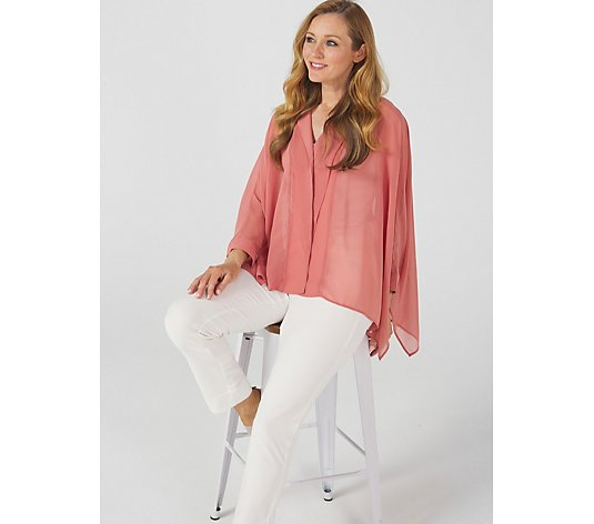 WynneLayers Unstructured Chiffon Kimono Shirt with Pleat Detail