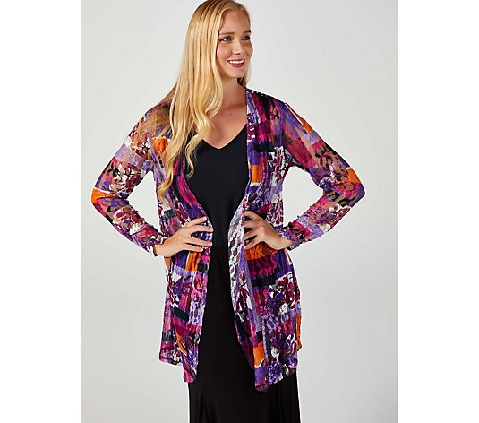 Radiant Lace Floaty Hem Gathered Cuffs Cardigan by Michele Hope