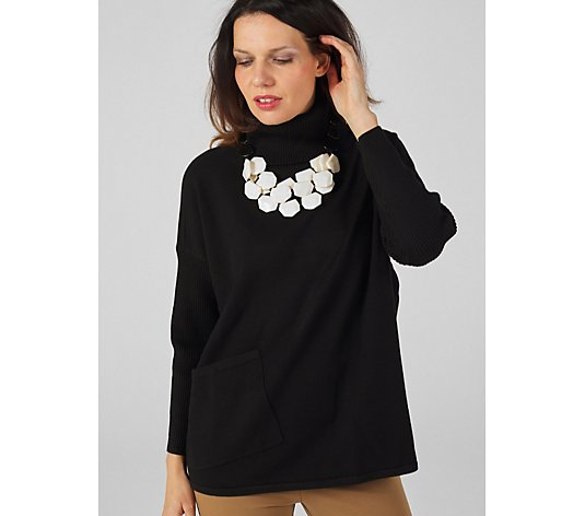 MarlaWynne Rib Polo Neck Jumper with Pocket Detail