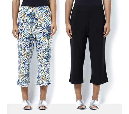 2 Pack of Printed & Plain Cropped Trousers by Nina Leonard