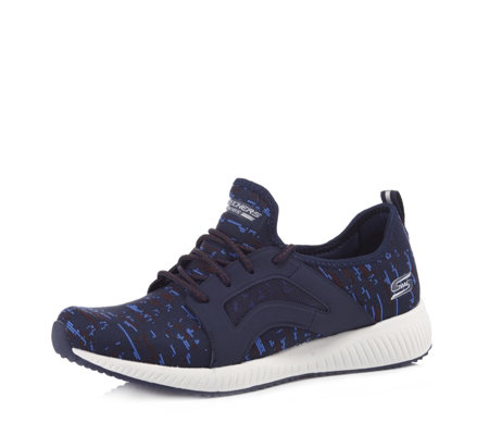 Skechers Bobs Squad Double Dare Engineered Knit Lace Up Trainer
