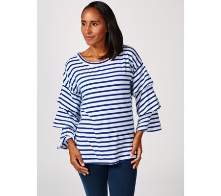 Striped Top with Tiered Long Sleeves by Nina Leonard