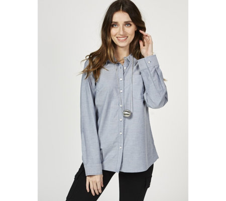 Denim & Co. Stretch Oxford Point Collar Button Front Shirt