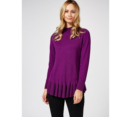Outlet Isaac Mizrahi Live Long Sleeve Curved Hem Peplum Jumper