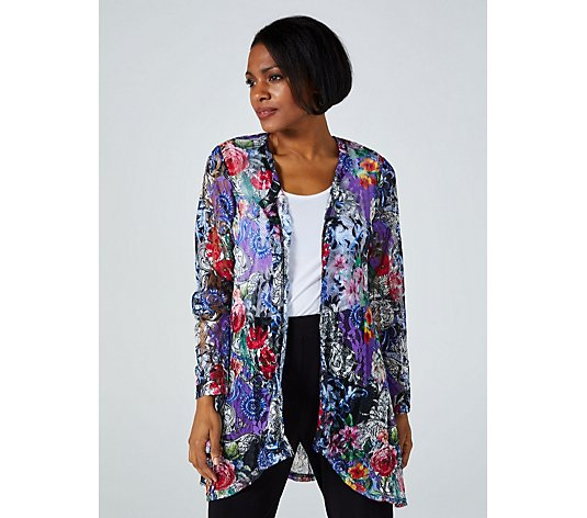 Tigerlily Print Lace Cardigan By Michele Hope