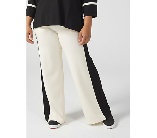WynneLayers Luxe Knit Wide Leg Pant with Contrast Side Panel