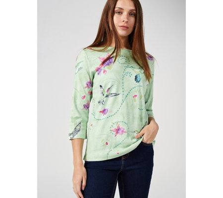 Artscapes Hummingbirds 3/4 Sleeve Round Neck Top