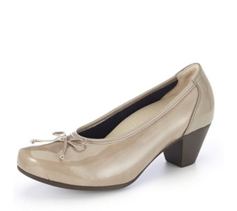 Vitaform Patent PU Stretch  and Leather Court Shoe with  Bow Detail - 157421