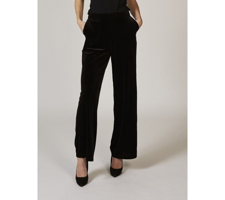 Dennis Basso Stretch Velvet Wide Leg Trousers