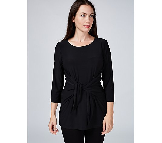 Attitudes by Renee Jersey 3/4 Sleeve Tie Front Top