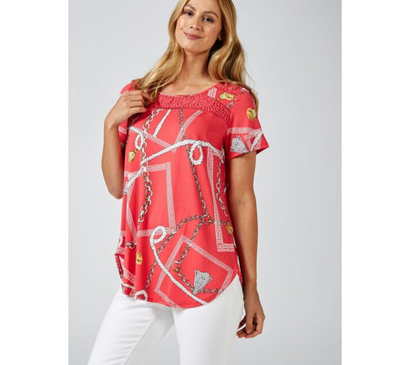 Antthony Designs Short Sleeve Printed Top