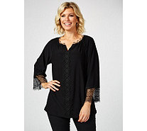 Dennis by Dennis Basso Caviar Crepe Tunic with Lace Trim - 173521